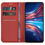 Leather Wallet Case & Card Holder Pouch for Vivo S1 - Red